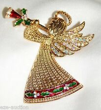 Golden Christmas Shiny Angel Of Peace W Trumpet AB Crystal Brooch