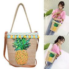 LC_ Casual Women Cotton Linen Pineapple Tassel Single Shoulder Bucket Bag _GG