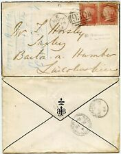 GB 1864 PENNY RED Pl.83 TWOPENCE RATE YORK POCKLINGTON to BARTON on HUMBER