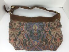 Lucky Brand Vintage Inspired Hobo Purse Multi-Colored Paisley Brown Leather