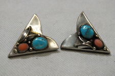 Vintage Montana Silversmiths Western Collar Tips with Turquoise and Coral