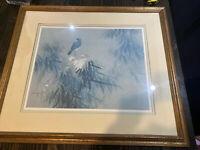 "DAVID LEE ART Perched Bird LITHOGRAPH Vtg 30.5"" X 26.5"" CHINESE ARTIST ORIENTAL"