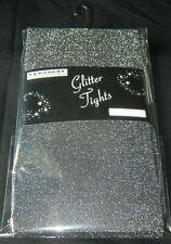 Black Silver Glitter Tights. Ladies M 60 denier xmas party sparkle
