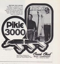 1975 Creek Chub Fishing Lure Vintage Print Ad Pike 300 Jig-L Worm Man Cave