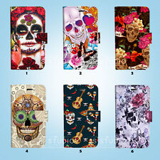 Sugar Skull Wallet Case Cover Samsung Galaxy S3 4 5 6 7 8 Edge Note Plus 026