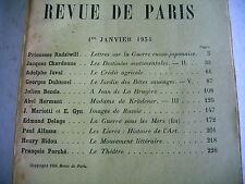 LA REVUE DE PARIS n° 1 - 1934 revue littéraire DUHAMEL PORCHE HERMANT etc