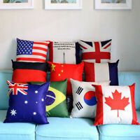 Cotton Linen National Flag Print Pillow Case Sofa Waist Cushion Cover Home Decor