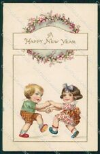 Artist Signed Children Happy New Year Relief cartolina XP8641