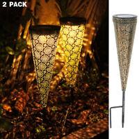 2x Vintage Solar Pathway Light Iron Cone Shape Garden Ground Landscape Light