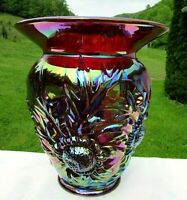 "Fenton Ruby Red Carnival Glass Alpine Thistle Vase 9""H x 7.75""W Mint*1993"
