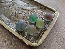 Set of 5 Genuine Cat Eye Seaglass Marbles | Red Green Yellow Orange | Seaham