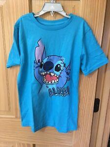 New Disney Store Stitch Tee T-Shirt Boys Blue 5/6,7/8