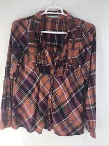 Women/'s Plaid off the shoulder 100/% Rayon Top Size 1XL