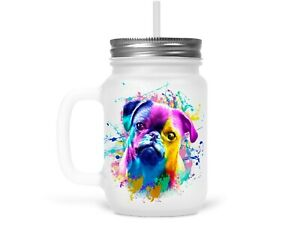 Henkelglas Trinkglas Glas mit Strohhalm Deckel Mops Hund Pug Dog Hundebesitzer