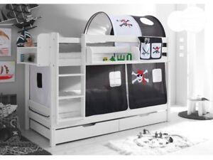 Etagenbett Hochbett Spielbett Kinder Bett Weiß 90x200cm + Vorhang Pirat Schwarz