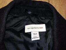 Karl Lagerfeld for H&M rare ladies womens wool cashmere black coat size 36, US 6