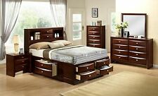 4 Piece Bedroom Set Merlot Queen Platform Storage Bed Bookcase Headboard