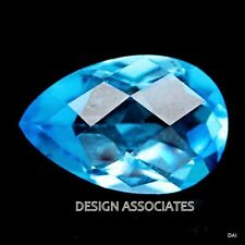 SWISS BLUE TOPAZ 10X8 MM PEAR CHECKERBOARD TOP AAA FANCY CUT