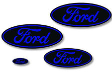 Front,Rear,Steering Wheel Decals Sticker Oval Overlay For Ford Expedition BLUE