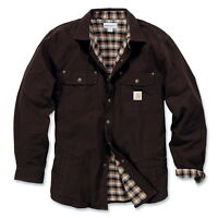 Carhartt Weathered Canvas Shirt, Padded, Dark Brown, Shirt Jacket, 100590