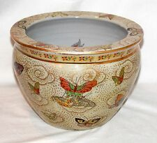 "New 16"" Oriental Colorful Butterfly Themed Fish Bowl Jardiniere Planter Pot"