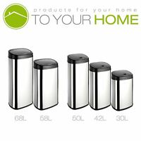 Dihl Onyx Rectangle Chrome Kitchen Automatic Dust Sensor Bin Touchles Waste