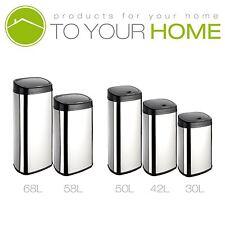 Dihl Onyx Rectangle Steel Kitchen Automatic Dust Sensor Bin Touchles Waste Silver 50l