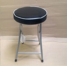 BLACK FOLDING STOOL ROUND SOFT PADDED SEAT WITH SILVER FRAME