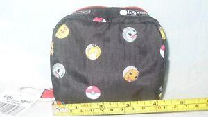 NWT Lesportsac Pokemon Dot Square Cosmetic Pouch 6701 G687 Black MIB MIP Pikachu