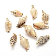 10pcs Gorgeous Electroplated Conch Shell Pendants Craft Charms Gold Tone 26~52mm