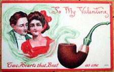 1910 Valentine Postcard: Smoking Pipe & Couple in Smoke