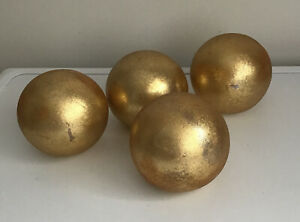 SET OF 4 HOME DECORATIVE ORNAMENTS GLASS BALLS WITH A DISTRESSED GOLD FINISH