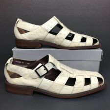 Stacy Adams Mens Fisherman Sandals Ivory Leather Buckle Strap 11.5 M