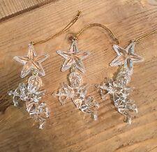 Lot of 3 acrylic Christmas ornament ANGEL CHERUBS CUPID w/ STAR ~  FREE SHIPPING