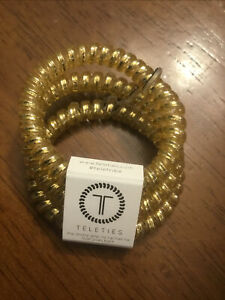 New Teleties 3 Pack Small Hairties Good As Gold Bracelet Ponytail Holder