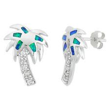 Sterling Silver Opal Palm Tree Stud Earrings w/ CZ Stones