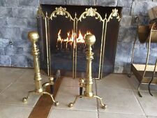 New listing Heavy Vintage Harvin Brass Fireplace Andirons