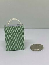 Handmade 12th Scale Dolls House Miniature Accessory Green Zig Zig gift bag