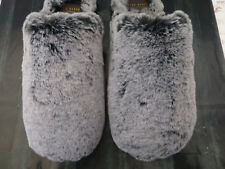 TED BAKER Mule Slipper Mens Juosh UK 10 Black Grey Cosy Fur Slippers Boxed R£70