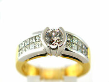 1.60 CT Engagement ring natural diamond round & princess cut 18K  two tone gold