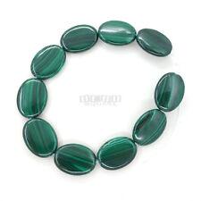 "10 Natural Genuine Green Malachite Flat Oval Beads 13x18mm 7"" #26102"