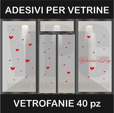 wall stickers adesivo san valentino vetrofania vetrofanie 40 cuori bar a0109