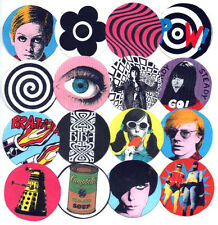 16 BADGES.  MOD,  POP ART, TWIGGY, BIBA, OP ART, WARHOL, 60's.