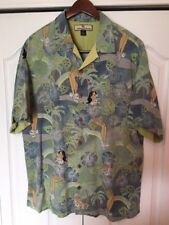 Tommy Bahama Silk Floral Hula Shirt-Blue/ Green -Short Sleeve -Mens Medium-M