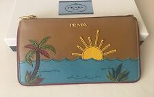 Authentic Prada Saffiano Nero Palm Tree Beach Sunset Pochette Pouch Bag