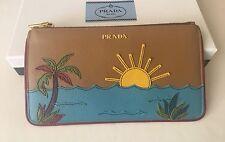 Authentic Prada Saffiano Nero Palm Tree Beach Sunset Pochette Pouch Bag