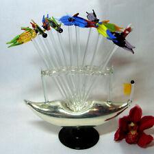 alter Lauscha Glas Ständer Fische Bowlespieße Cocktail Bowle Spieße / dj 543
