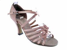 1650 Brown Satin Swing Ballroom Salsa Mambo Latin Dance Shoes heel 2.5 Size 8.5