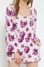 Forever 21 Pink Blush Purple Rose Romper Long Bell Sleeves Lace Up Back Medium