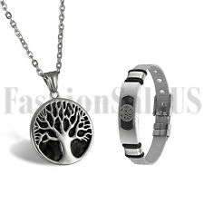 Celtic Pewter Stainless Steel Men's Tree of Life Pendant Necklace Bracelet Set